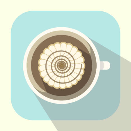 whipped: coffee cup with whipped cream and caramel icon long shadow