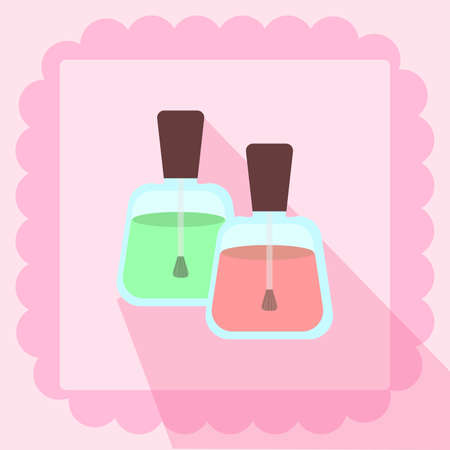 nail polish flat icon on pink background Иллюстрация