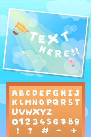 edible fluffy text cloud font and balloon on summer sky template