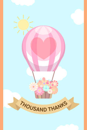 flower basket: Balloon with flower basket and brown ribbon in the sunny sky card template
