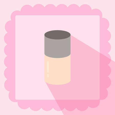 make up base foundation flat icon on pink background