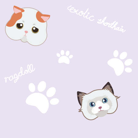 seamless cute cat and paw purple pattern background