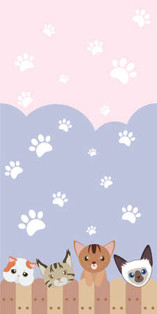 abyssinian: cute cat seamless pattern background with fence and paw pattern Illustration