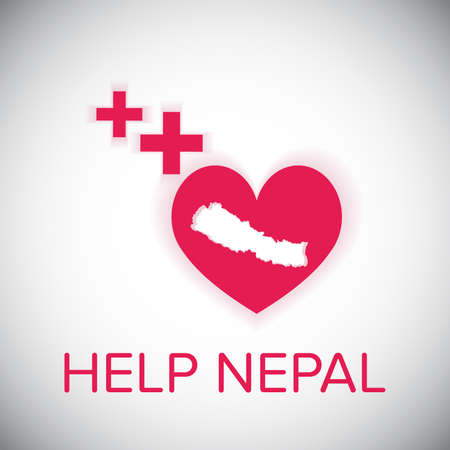 seismic: help nepal heart and plus red symbol on white shadow background Illustration