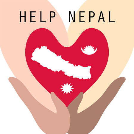 cooperate: many races hands cooperate to help nepal from earthquake disaster