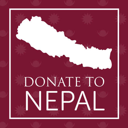 quake: deep red donate to nepal banner with map and nepal symbol