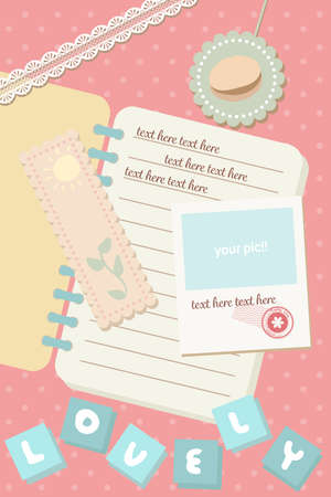 cute pastel notebook and postcard polaroid picture template background