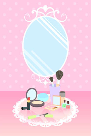 lipstick, compact powder, base, mascara, eyeshadow, brush on, nail polish, cream on lace mat and mirror on pink polka dot wallpaper Иллюстрация