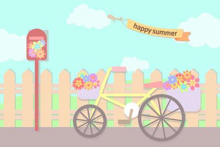 bicicleta retro: flores en colores pastel en la cesta de la bicicleta y el buzón situado en la calle en el cielo de verano con la cinta del texto Vectores