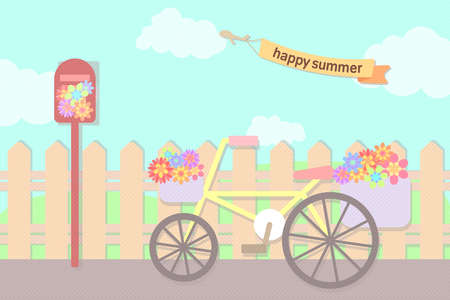 pastel flowers in bicycle basket and post box at street in summer sky with text ribbon