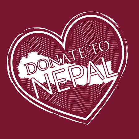 heart shape donate to nepal banner stamp style on deep red background