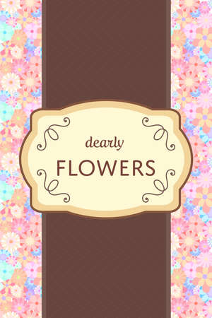 Elegant brown and cream label card tag with flower garden background template