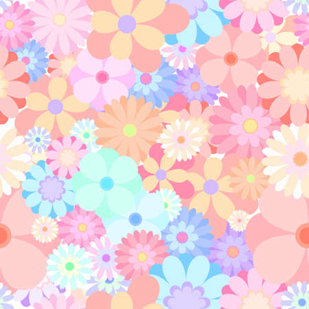 medley: seamless colorful flower blooming medley pattern background vector Illustration