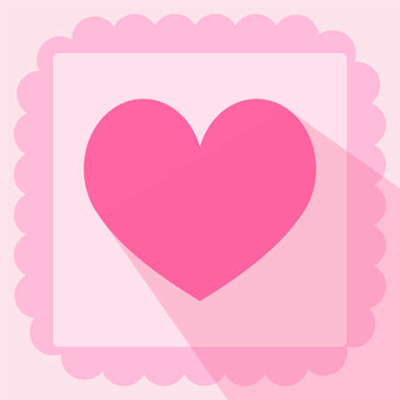 heart shape flat icon on pink background