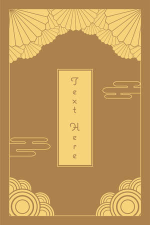 vintage elegant golden Japanese and Chinese invitation card template Çizim