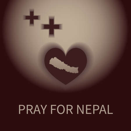 heart shape and plus shadow pray for nepal banner Иллюстрация