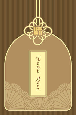 charm: vintage elegant golden Japanese and Chinese invitation charm card template