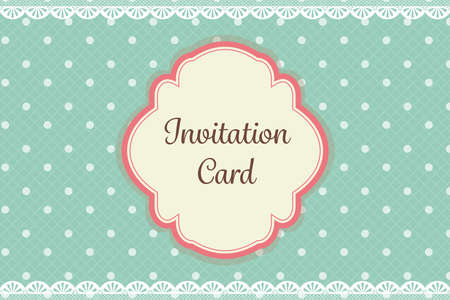 cute teal polka dot with lace elegant background invitation card template Иллюстрация