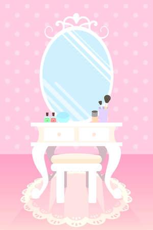 lipstick brush: brush on, base, lipstick, mascara and eyeshadow on make up table in pink room polka doot wallpaper