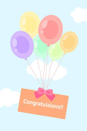 pastel float balloon in clear sky with congratulations card flat style