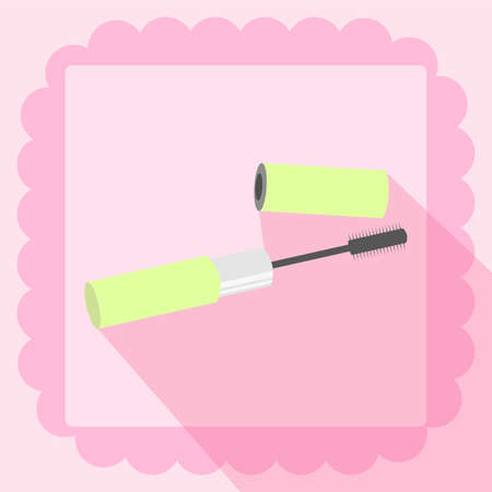 mascara flat icon on pink background Иллюстрация