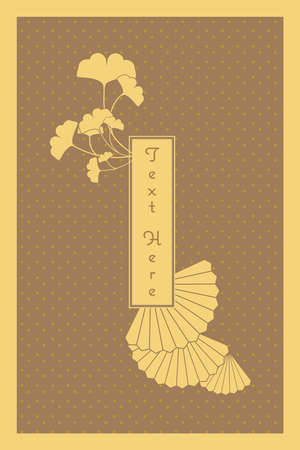 vintage elegant golden Japanese and Chinese invitation card template Иллюстрация