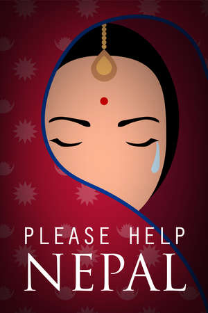 nepal woman wear sari cry please help nepal poster Иллюстрация