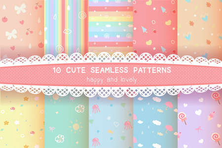 cute rainbow colorful pastel seamless pattern background