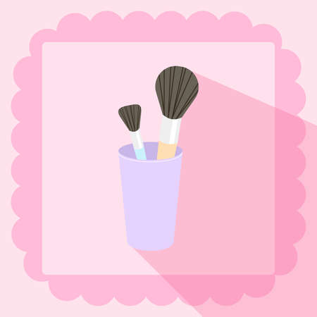 flat brushes: brushes in glass flat icon on pink background