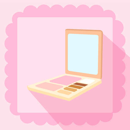 brush on and eyeshadown flat icon on pink background