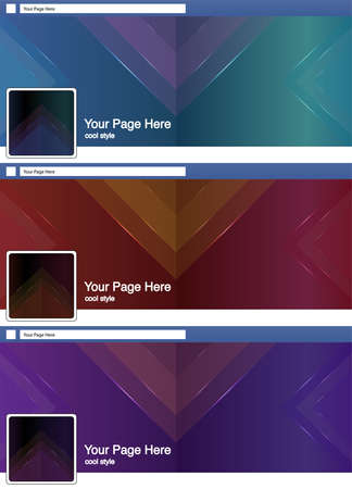 cool triangle abstract face book page cover banner and background background template set