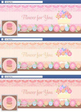 cute pastel face book page cover banner and background background template set Иллюстрация