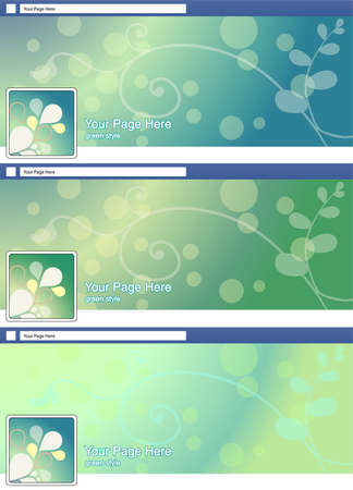 green abstract face book page cover banner and background background template set