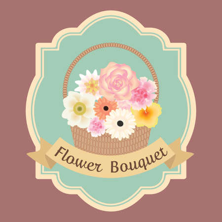 pastel colorful flowers bouquet in basket with text ribbon card Иллюстрация