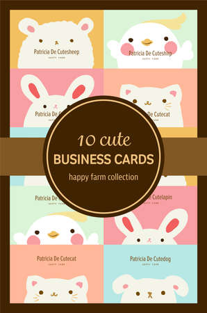 ten cute pastel animal business cards or labels template
