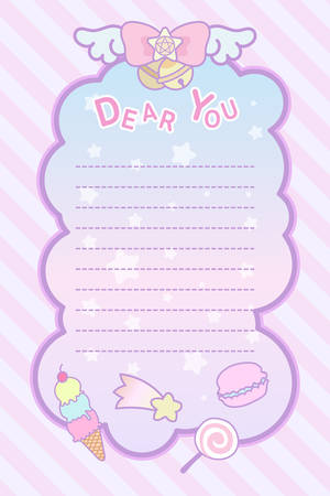 cute pastel magical lovely ribon and sweet letter template