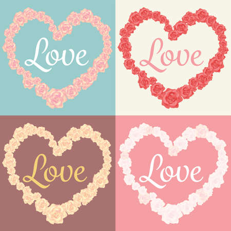 roses in heart shape and love text cards set