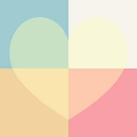 pastel cute heart and rectangle seamless pattern background