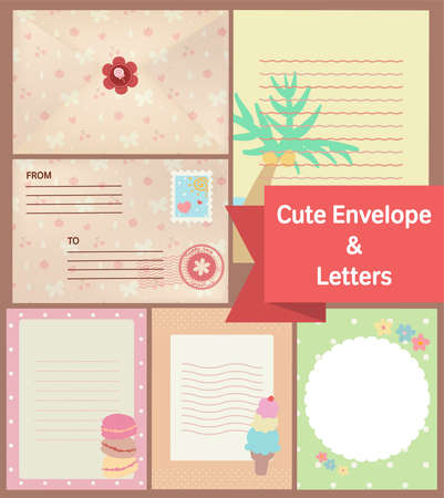 cute vintage pastel letters and envelope paper template