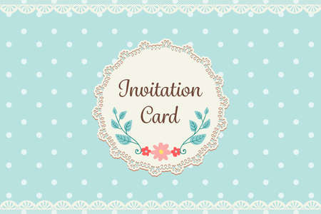 cute pastel blue polka dot with lace elegant background invitation card template