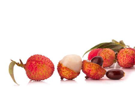 Fresh lychees isolated on white background.