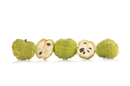 Sugar Apple (custard apple, Annona, sweetsop) on white background.