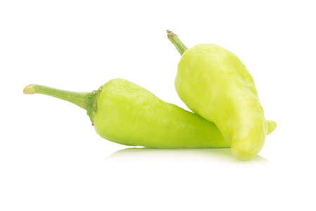 green chili peppers isolated on white background. Stock Photo
