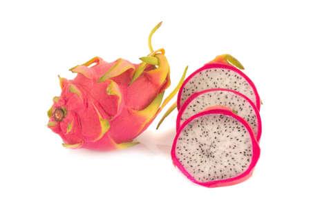 Dragon Fruit isolated against white background. Stock Photo