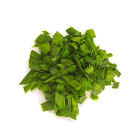 Asian chives (leek) (chopped) isolated on white background Stock Photo