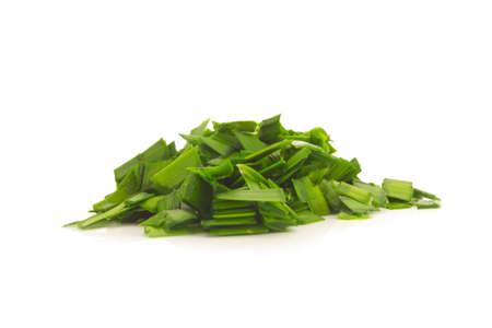 ramosum: Asian chives (leek) (chopped) isolated on white background Stock Photo