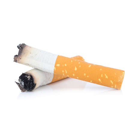 cigarette butt. two. isolated on white background Stock Photo