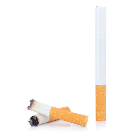 cigarette and cigarette butt isolated on white background Stock Photo