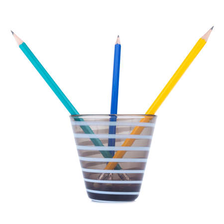 Pencils in the pencil holders. Stock Photo