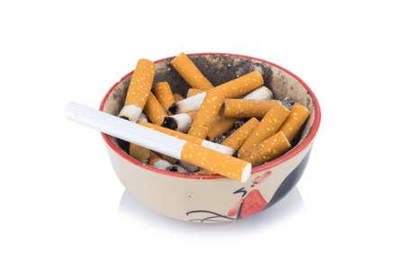 cigarette ash ashtray isolated on white background.